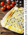 vegetarian tart with ricotta, paprika and zucchini 38727233