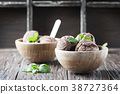 Cold ice cream with chocolate and mint 38727364