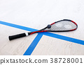 racquetball equipment on the court 38728001