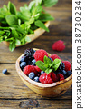 Mix of summer berries and mint 38730234