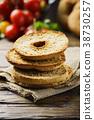 italian bread frisella on the wooden table 38730257