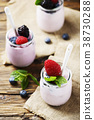 Healthy summer yogurt with berry and mint 38730288