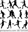 soccer women silhouette. girl player 38730508