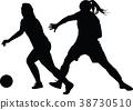 soccer women silhouette. girl player 38730510