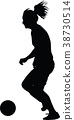 soccer women silhouette. girl player 38730514