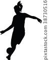 soccer women silhouette. girl player 38730516