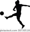 soccer women silhouette. girl player 38730518
