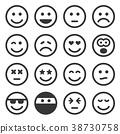 Monochrome Smile Icons Set on White Background 38730758