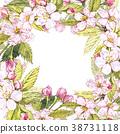 Apple frame botanical illustration. Card design 38731118