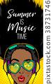 Summer music banner woman disco pop at 38731746