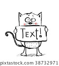 Cartoon cute  cat. Thank you greeting card. 38732971