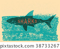 Shark swimming in sea on old paper poster 38733267