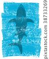 Shark in ocean waves.Vector underwater blue 38733269