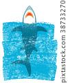 Shark in ocean blue waves.Vector background 38733270
