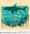 Shark swimming in sea on old paper poster 38733271