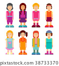 female, character, set 38733370