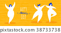 Womens day web banner with happy girls dancing 38733738
