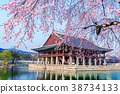 Gyeongbokgung Palace with cherry blossom in spring 38734133