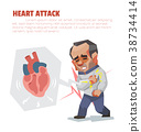 Heart attack, Vector cartoon illustration. 38734414