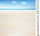 Vector  ocean with blue  sky and sandy beach. 38735323