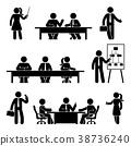 Stick figure business meeting icon set 38736240