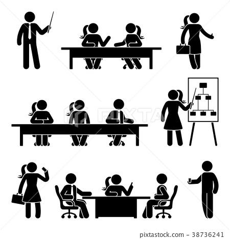 Stick figure business presentation icon set 38736241