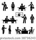 Stick figure business communication icon set 38736243
