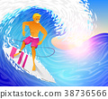 Surfer riding on blue ocean wave with surfboard 38736566
