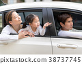 Man and woman with little child driving in car. 38737745