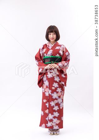 기모노 야마토 나데시코 흰색 배경 서 모습 정면 38738653