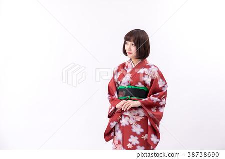 기모노 야마토 나데시코 흰색 배경 서 모습 정면 38738690