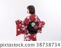 转过来的和服大和绫子白色背景常设图 38738734
