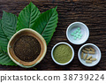 Mitragyna speciosa (kratom) leaves with products 38739224