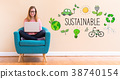 Sustainable with young woman using her laptop 38740154