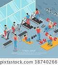 Fitness Center Interior Isometric Poster  38740266