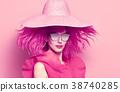 Fashion Portrait girl. Pink Hair,Trendy Sunglasses 38740285