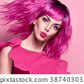 Glamour Beautiful Lady. Pink Fashionable Hairstyle 38740303