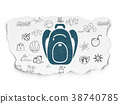 Travel concept: Backpack on Torn Paper background 38740785