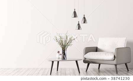 Interior with armchair and coffee table 3d render 38741230