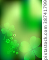 Blurred background with shamrocks 38741799