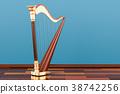 Harp on the wooden floor in the room, 3D rendering 38742256