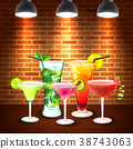 Cocktails Realistic Colored Composition 38743063