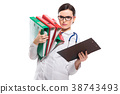 Angry young woman doctor with stethoscope holding 38743493
