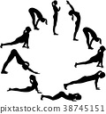 Yoga sun salutation - all positions in a circle 38745151