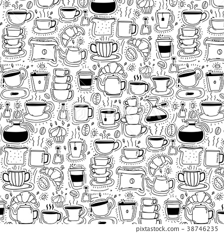 Pattern With Line Hand Drawn Doodle Coffee  38746235