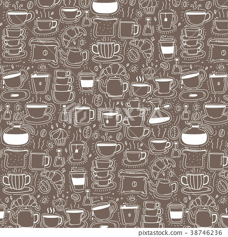 Pattern With Line Hand Drawn Doodle Coffee  38746236