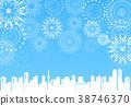 煙花城市藍色背景 38746370