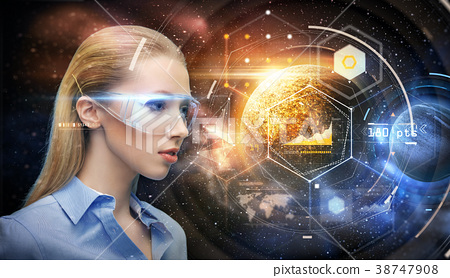 woman in virtual reality glasses over space 38747908