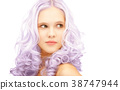 teen girl with trendy lilac dyed hair 38747944
