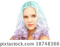 teen girl with trendy colorful gradient dyed hair 38748366